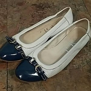 AGL white blue leather flats 9